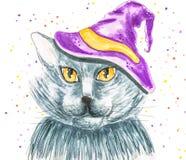 Halloween-kat met een hoed op witte hand getrokken illustratie wordt geïsoleerd die als achtergrond Stock Foto