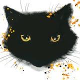Halloween-Katzenplakat für den Feiertag mit den Symbolen des Feiertags Lizenzfreies Stockfoto