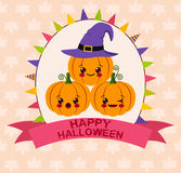 Halloween kawaii card Royalty Free Stock Photography