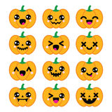 Halloween Kawaii cute pumpkin icons -  Stock Photo