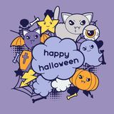 Halloween kawaii greeting card with cute doodles Royalty Free Stock Image