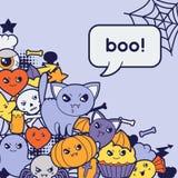Halloween kawaii greeting card with cute doodles Stock Photography