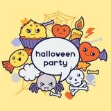 Halloween kawaii greeting card with cute doodles Stock Photos