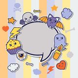 Halloween kawaii greeting card with cute sticker Royalty Free Stock Photo