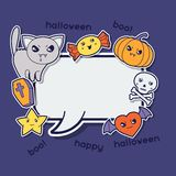 Halloween kawaii greeting card with cute sticker Royalty Free Stock Images