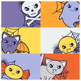 Halloween kawaii greeting cards with cute doodles Royalty Free Stock Image
