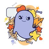 Halloween kawaii print or card with cute doodle Royalty Free Stock Photography
