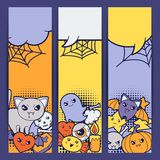 Halloween kawaii vertical banners with cute Stock Photo