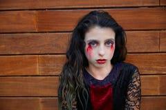 Halloween kid girl custome bloody makeup Royalty Free Stock Photography