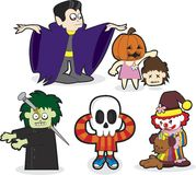 Halloween Kids. A set of Halloween cartoons Stock Photo