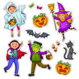 Halloween kids. Set of kids wearing costumes and other Halloween symbols Royalty Free Stock Photos