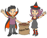 Halloween kids. Boy and gir.Treat or trick. Vector illustration Stock Images