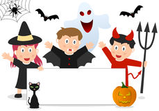 Halloween Kids and Banner. Three Halloween kids in costume with black cat, pumpkin, bats, spider, ghost and a blank banner. Empty space for your message. Eps Stock Photos