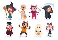 Halloween kids. Cartoon children in halloween costumes. Funny girls and boys at party vector isolated charactres. Illustration of girl and boy costume monster stock illustration