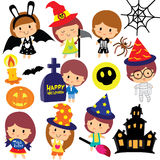 Halloween kids clip art set Stock Image