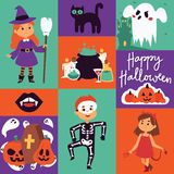 Halloween kids costume trick or treat party costumes vector characters. Little child people Halloween bat, candy, ghost vector illustration