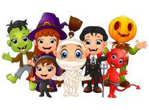 Halloween kids costumes. witch, Frankenstein, Dracula, cat costume, Red Devil, mummy, Pumpkin Head Royalty Free Stock Photography
