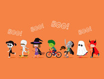 Halloween kids. Cute cartoon children in costumes Royalty Free Stock Image