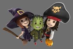 Halloween Kids. 3d render of children wearing halloween costume Royalty Free Stock Photos