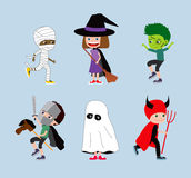 Halloween kids. Set of cartoon children in costumes. Mummy, witch or wizard, zombie, knight, ghost and devil Stock Photo