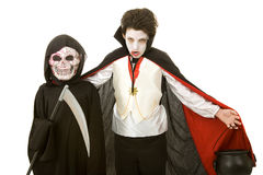Halloween Kids - Vampire and Reaper royalty free stock photography
