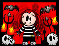 Halloween killer vector. Halloween cartoon killer in the hell background Stock Photo