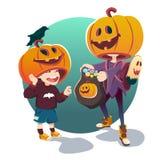 Halloween Kinder in den Kostümen Stockfoto