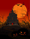Halloween Kingdom. Illustration of spooky haunted kingdom on night background Stock Image