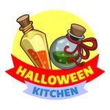 Halloween kitchen logo, cartoon style vector illustration