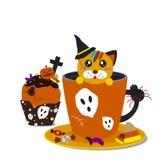 Halloween-kleiner Kuchen und -cofee stock abbildung