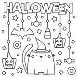 Halloween Kleurende pagina Vector illustratie Royalty-vrije Stock Foto's