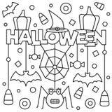 Halloween Kleurende pagina Vector illustratie Royalty-vrije Stock Afbeeldingen