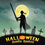 Halloween knight with sword in night graveyard Stock Images