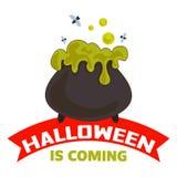 Halloween is komend embleem, beeldverhaalstijl vector illustratie