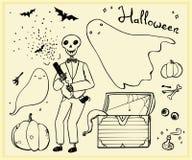 Halloween konturu ustaleni elementy Obrazy Stock
