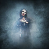 Halloween-Konzept: junge und sexy Hexe Stockbild