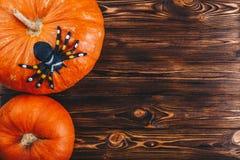 Halloween-Konzept mit frischen Kürbisen und einer Spinne auf ihr auf dem Holztisch Süßes sonst gibt's Saures Ansicht von oben Lizenzfreies Stockfoto