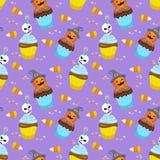 Halloween-Konzept mit Schalenkuchen- und -süßigkeitsmuster lizenzfreie abbildung