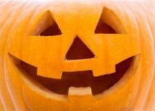Halloween-Konzept - nah oben von Kürbis Jack-O-Laterne Stockfotografie