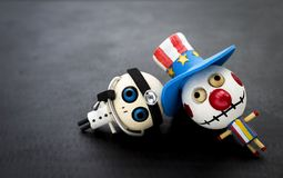 Halloween-Konzepthintergrund von Bozo und von hölzernem Puppengeist Doktors Stockfoto