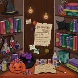 Halloween-Konzeptkarte mit Hexe ` s Raum Halloween-Elemente Auch im corel abgehobenen Betrag stockfoto