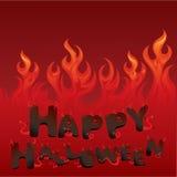 Halloween kort med flammtextur Arkivfoto