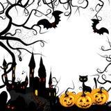 Halloween kort med pumpa Arkivbilder