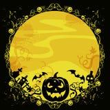 Halloween kort med pumpa och slagträn Royaltyfri Bild