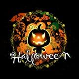 Halloween kort med pumpamonster Arkivfoton