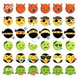 Halloween-Kostüm Emoticons eingestellt Lizenzfreies Stockbild