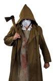 Halloween-kostuum - psychomoordenaar met bloedige schort en bijl in hallo royalty-vrije stock afbeelding