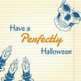 Halloween-krabbel - kaarsen en schedel Stock Afbeelding