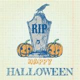Halloween-krabbel met pompoenen en grafsteen Stock Foto's