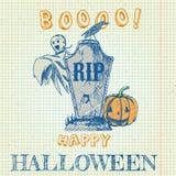 Halloween-krabbel - pompoen, spook en grafsteen Stock Foto
